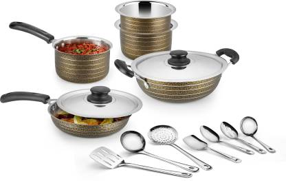 Golden Brown Texture 14 Pcs Cookware Set With Induction Bottom