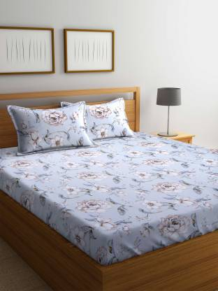 STELLAR HOME 104 TC Polyester Double Floral Bedsheet
