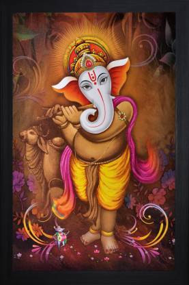 SAF Ganesha Textured Print with UV Canvas 20 inch x 14 inch Painting