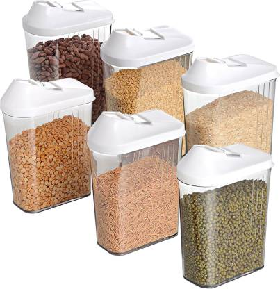 WCSE present Store n more unbreakable food Container Full Set of 6 pcs (1100ml x 6) White color  - 6600 ml Polypropylene Grocery Container