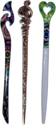 HEERA Combo of Multi Color Juda Sticks Bun Stick