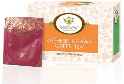 Goodwyn Kashmiri Kahwa, A Supreme Blend Of Green Tea And Indian Spices Cinnamon, Cardamom, Saffron Green Tea Bags Box