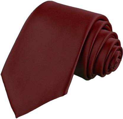 Qtsy Slim Tie For Formals and party Maroon Solid Men Tie