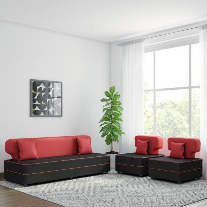 Bharat Lifestyle Butterfly Leatherette 3 + 1 + 1 Red and Black Sofa Set