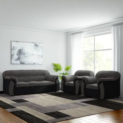 FURNICITY Fabric 3 + 1 + 1 Grey Sofa Set