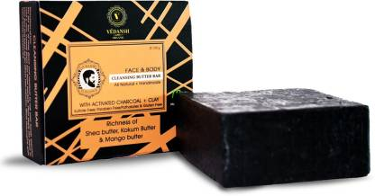 Vedansh Face & Body Cleansing Butter Bar With Activated Charcoal And Clay