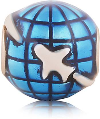 Linkingcharms 92.5 Sterling Silver Charms For Women, Girls - Travel the Globe Silver Beaded Charm