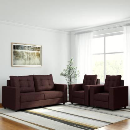 WESTIDO atHome Fabric 3 + 1 + 1 Brown Sofa Set Delivery condition   DIY Do It Yourself