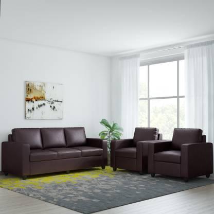 Bharat Lifestyle Victoria Leatherette 3 + 1 + 1 Brown Sofa Set