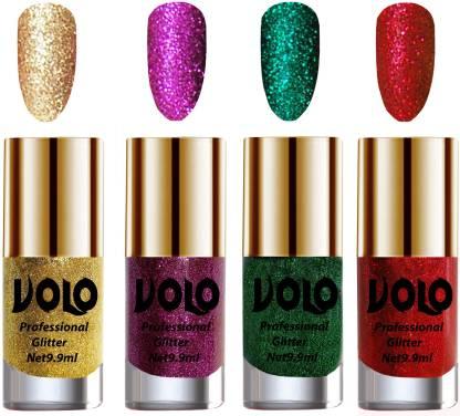 Volo Professionally Used Glitter Shine Nail Polish Combo Pack of 4 Combo-No-261 Golden Glitter, Purple Glitter, Dark Green Glitter, Red Glitter