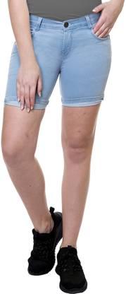 Stanvee Solid Women Denim Light Blue Denim Shorts