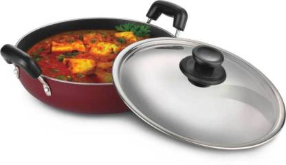 HardRoss HardRoss K D -010 Kadai-2.6 mm Non -Stick Cookware Kadhai , Material Aluminium, handle Included:-Yes, Lid Included:-Yes, No.:-10, size:-Large, Length:-36 cm, Breadth:-29 cm, Height:-12 cm, Weight in kg:-1.150 g, Liter capacity:-260 mm Kadhai 36 cm with Lid