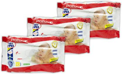 Pigeon BABY WIPES CHAMOMILE 80 SHEETS PACK OF 3