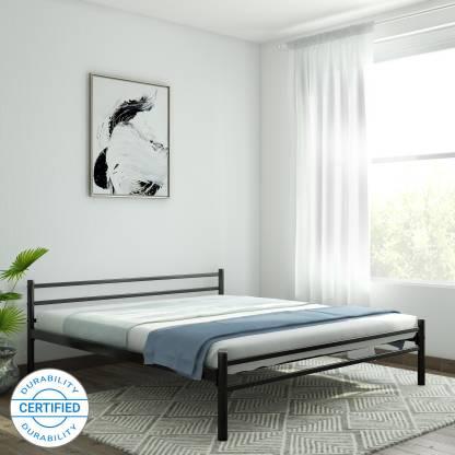 FurnitureKraft Palermo Metal King Bed Finish Color   Black  FurnitureKraft Beds