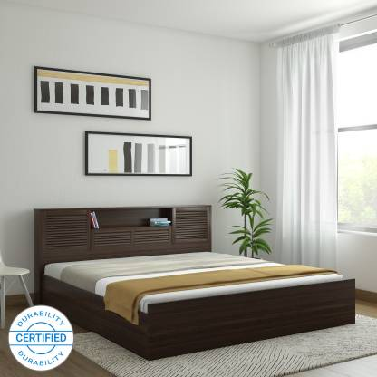 HomeTown Bali Bolton Engineered Wood King Box Bed Finish Color   Dark wenge  HomeTown Beds
