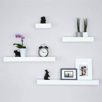 Driftingwood Floating White Wall Shelf, Shelving For Living Room Walls