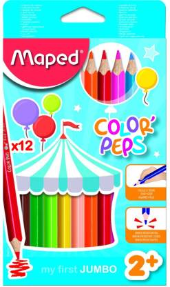 Maped Color'Peps - Jumbo Size Color Pencil 12 Shades Triangular Shaped Color Pencils