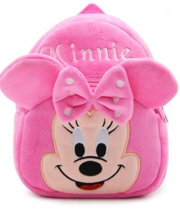 Frantic Minnie Velvet School Bag for Nursery Kids, Age 2 to 5 Waterproof Plush Bag