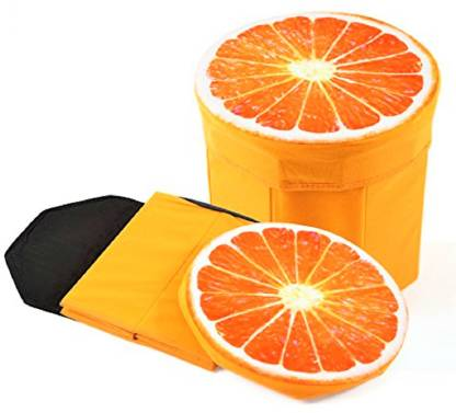 Quick Shel 3D- CUTE CARTOON ORANGE FRUIT FOLDING STORAGE ORGANIZER CUM STOOL WITH INNER INFLATABLE STOOL PLUS AIR FILLED SOFT COMFORT SEAT WITH PUMP Living & Bedroom Stool