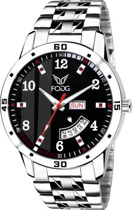 Fogg 2058-BK Printed Black Day and Date Analog Watch - For Men