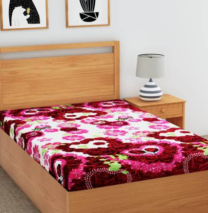 Metro Living 144 TC Microfiber Single Floral Bedsheet
