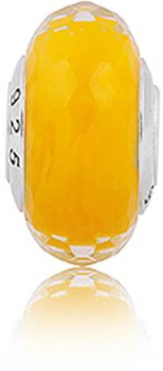 Linkingcharms 92.5 Sterling Silver Charms For Girls - Yellow Faceted Murano Silver Beaded Charm