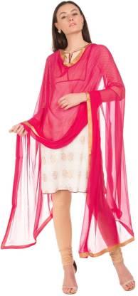 Nylon Solid Pink Women Dupatta