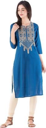 KSHARAA Women Embroidered Straight Kurta