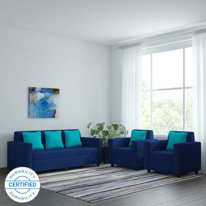 Bharat Lifestyle Desy Fabric 3 1 1 Blue Sofa Set Price In India Buy Bharat Lifestyle Desy Fabric 3 1 1 Blue Sofa Set Online At Flipkart Com