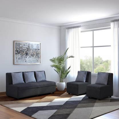 Bharat Lifestyle Delta Fabric 3 + 1 + 1 Dark Grey Sofa Set