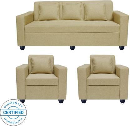 Bharat Lifestyle Lexus Fabric 3 + 1 + 1 Gold Sofa Set