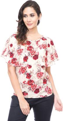 Emeros Party Cape Sleeve Floral Print Women Red, White Top
