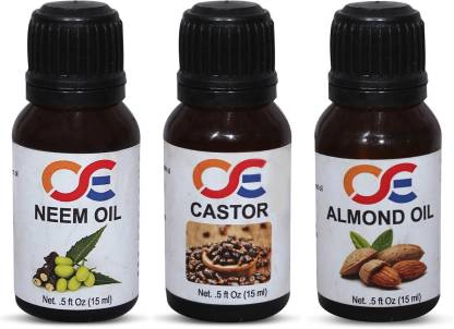 OSE (Combo Pack Of 3) 100 Percent Pure & Organic Cold Pressed & Hexane Free Neem Oil, Castor & Almond Oil Hair Oil