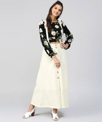 Sassafras Solid Women Straight White Skirt