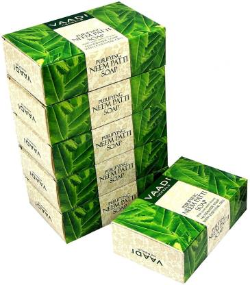VAADI HERBALS Super Value Pack of 6 Neem Patti Soap - Contains Pure Neem Leaves