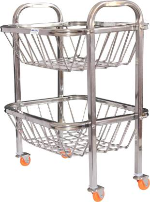 Limetro 2 Step Fruit And Vegetable Stainless Steel Kitchen Trolley