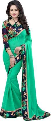 Online Bazaar Solid Daily Wear Georgette, Chiffon Saree