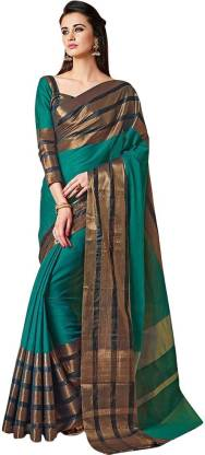 BAPS Striped Bollywood Cotton Silk Saree