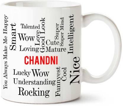 IBGift Chandni Good Personality White Ceramic coffee Name Ceramic Coffee Mug
