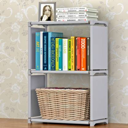 FurnCentral Metal Open Book Shelf   Finish Color   Grey  FurnCentral Bookshelves