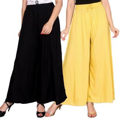 Aawari Regular Fit Women Black, Yellow Trousers
