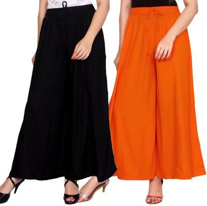 Aawari Regular Fit Women Black, Orange Trousers