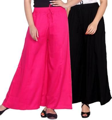 Aawari Regular Fit Women Pink, Black Trousers