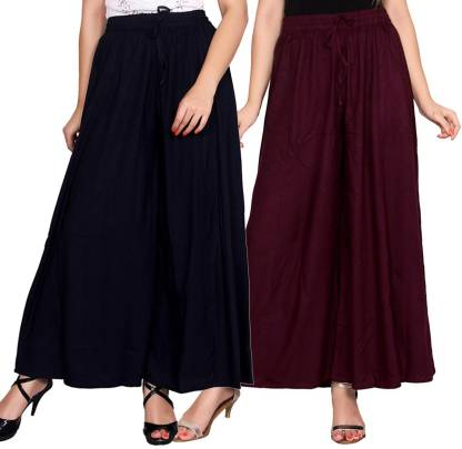 Aawari Regular Fit Women Dark Blue, Maroon Trousers