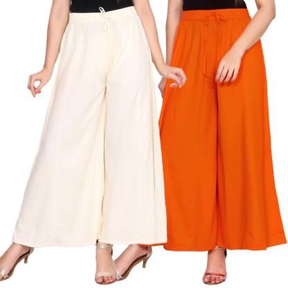 Aawari Regular Fit Women White, Orange Trousers