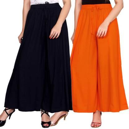 Aawari Regular Fit Women Dark Blue, Orange Trousers