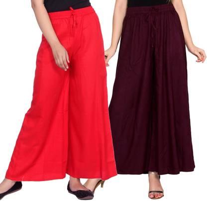 Aawari Regular Fit Women Red, Maroon Trousers