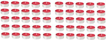 Kala Decorators 50Pcs Quality Red Strawberry Smokeless Color Tea Light Candle for Party,Home Candle
