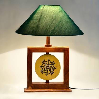 ExclusiveLane 14 Inch Modern Sheesham Wooden Engraved Square Lamp Table Lamp