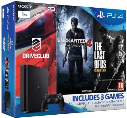 SONY Ps4 Slim Console 1TB with Drive Club, Uncharted 4, The Last Of Us Remastered